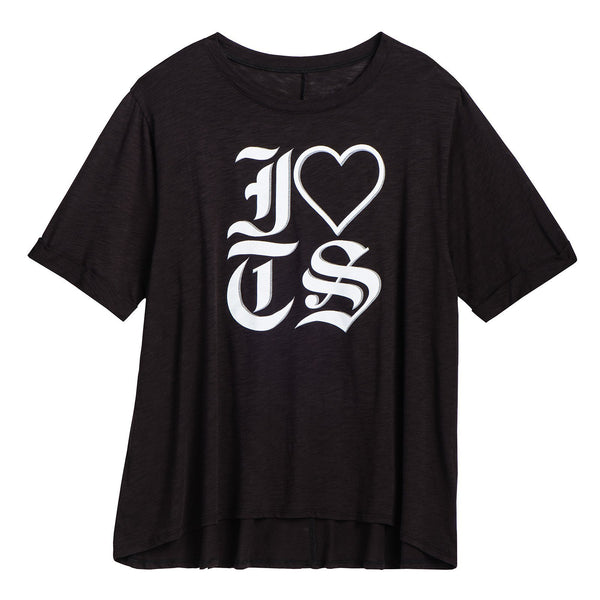 Front of the LADIES BLACK I LOVE TS TEE
