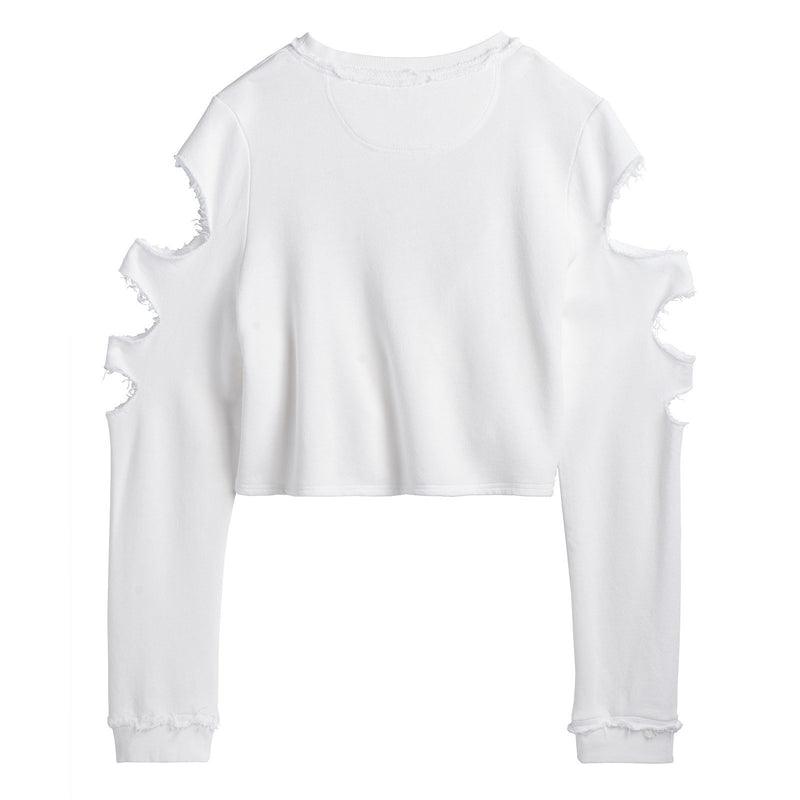 Back of the LADIES WHITE CROP LONG SLEEVE TOP