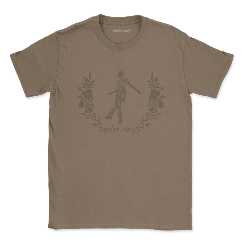 "the ""still on that tightrope"" brown t-shirt front"