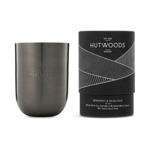 Hutwoods luxury wood wick candle in a stylish black vessel, Bergamot & Anjou Pear Wood Wick Soy Candle