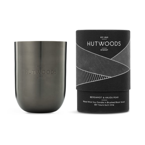 Hutwoods luxury wood wick candle in a stylish black vessel