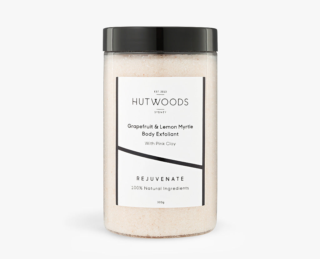 Hutwoods Grapefruit and Lemon Myrtle Body Exfoliant with Pink Clay
