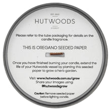 Hutwoods luxury Bergamot & Anjou Pear Wood Wick Soy Candle with seeded paper