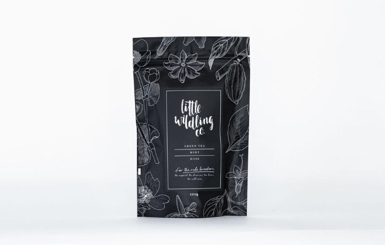 Little Wildling Co Green tea, Mint and Rose loose leaf tea in a pouch