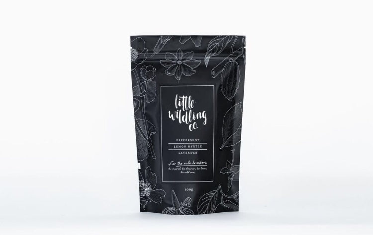 Little Wildling Co loose leaf peppermint, lemon myrtle and lavender tea in a bag.