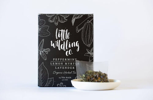 Little Wildling Co peppermint, lemon myrtle and lavender tea bags.