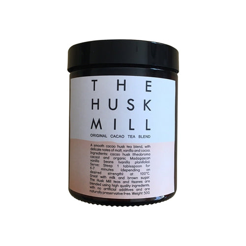 The Husk Mill cacao tea. Original cacao tea. Small batch Australian made tea.