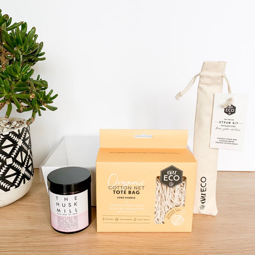 Gift pack containing The Husk Mill cacao tea, Ever Eco cotton net bag and Ever Eco reuseable on the go straw kit
