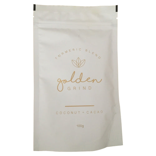 Golden Grind coconut and cacao blend, tumeric, tumeric latte, golden grind, the luxe pantry