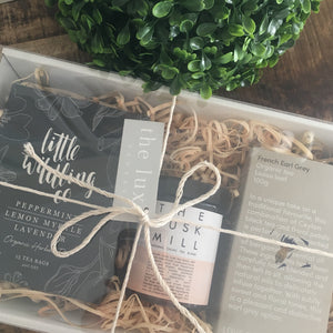 Tea gift pack containing tea by Little Wildling Co, The Husk Mill cacoa tea and Love Tea.