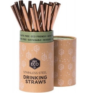 Bulk 25 pack rose gold stainless steel straws