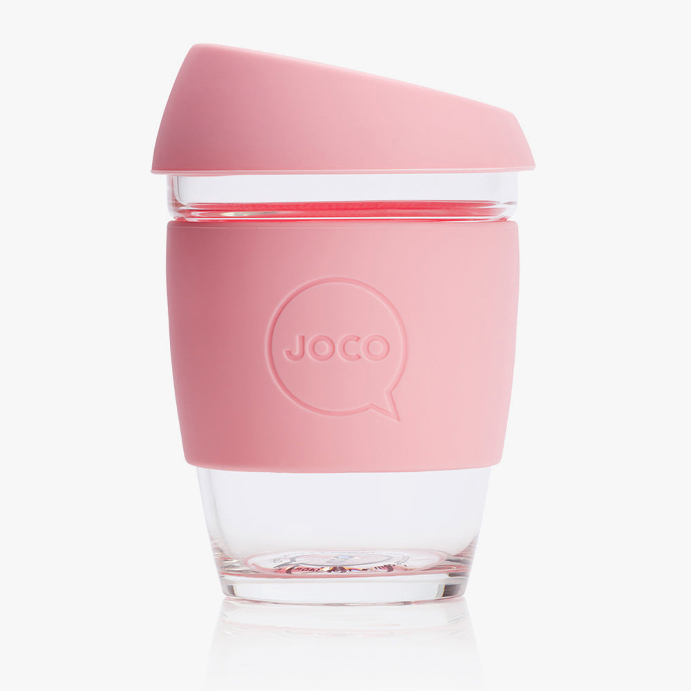 Joco reusable glass coffee cup in pink.