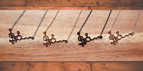 THC Molecule Necklaces - Choose From Black, Gold, Silver, Rose!