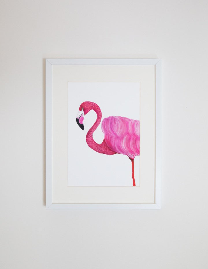 Florence the Flamingo a4 print