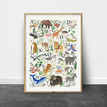Animal Alphabet Print | Art print | A3