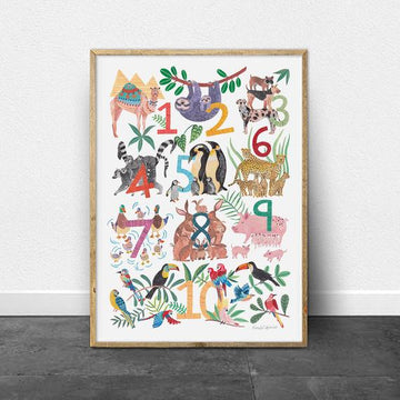 Animal Numbers Print | Art Print | Nursery Wall Art |
