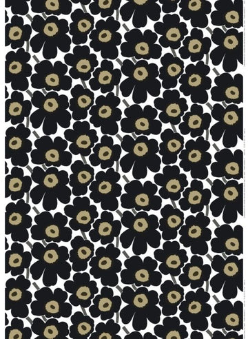 Pieni Unikko cotton fabric by the meter. Black.