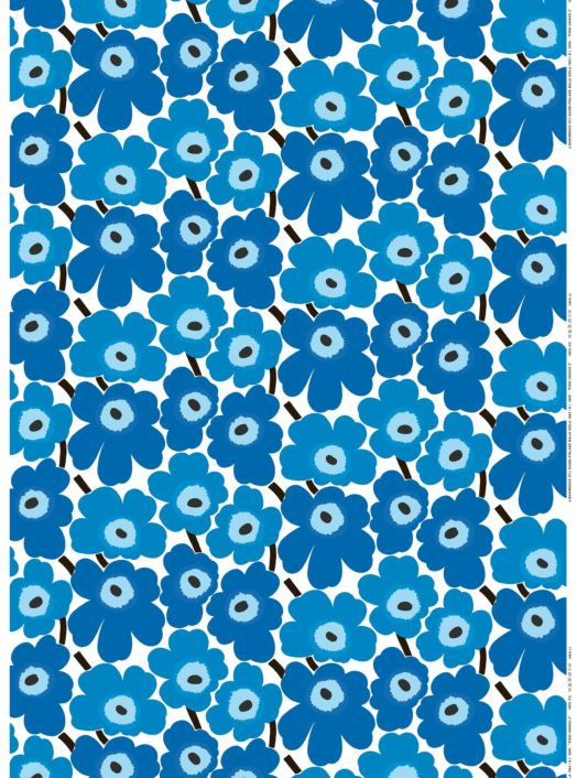 Pieni Unikko cotton fabric by the meter. Blue.