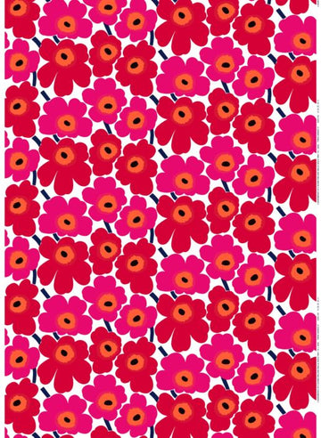 Pieni Unikko cotton fabric by the meter. Red.