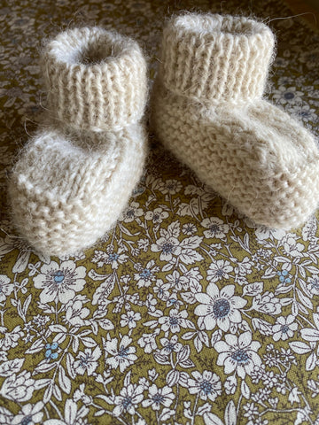 Hand Knitted Baby Bootie. Cream.