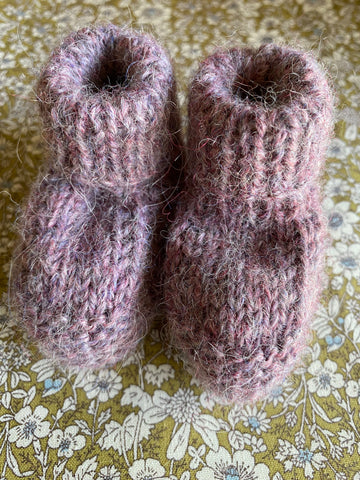 Hand Knitted Baby Bootie. Purple.