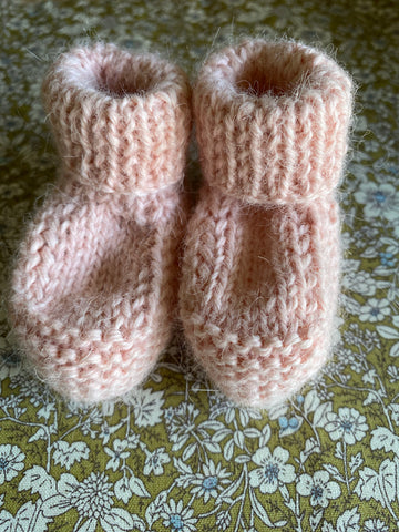 Hand Knitted Baby Bootie. Peach.