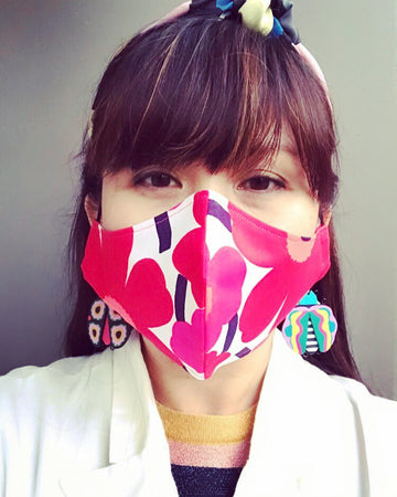 Marimekko Ladies Face Mask. Pink/Red.