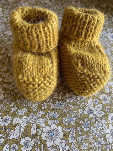 Hand Knitted Baby Bootie. Mustard.