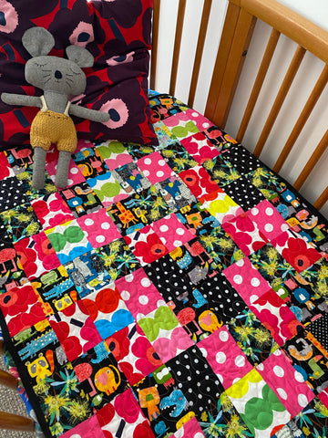 Animals vs Botanicals. Small Cot Quilt.