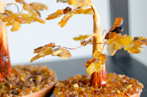 "8"" Wooden Tree with Clay Base and Honey and Light Amber Leaves"