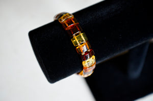 Multicolored Amber Panel Bracelet (Large)