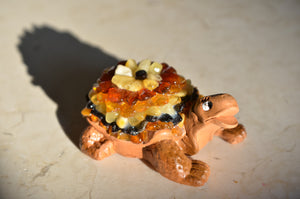 "3"" Cognac Amber on Clay Turtle Figurine"