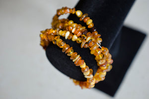 Multicolored Amber 3-Row Coiled Bracelet