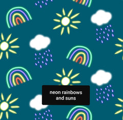 neon rainbows and suns