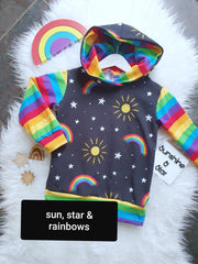 sun, star and rainbow