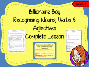 Nouns, Verbs and Adjectives Complete Lesson – Billionaire Boy