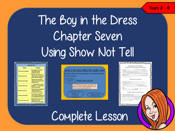 The Boy in the Dress  – Using Show not Tell in Writing -  Complete Lesson