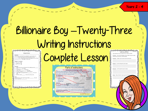 Writing Instructions Complete Lesson  – Billionaire Boy