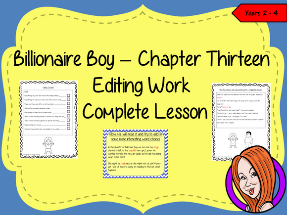 Editing Writing Complete Lesson  – Billionaire Boy