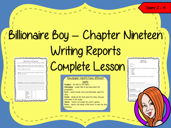 Complete Lesson Newspaper Reports  – Billionaire Boy