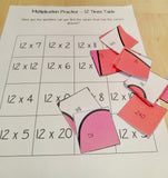 Christmas Themed Independent Multiplication Revision Sheets 12x No Prep independent revision activity for the twelve times tables. Children have to cut out and stick the correct answer to the question square, when the correct squares are all in place a christmas themed picture will be revealed. #teachmultiplication #revisemultiplication #twelvetimestables #noprep #mathsworksheets