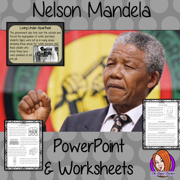 Nelson Mandela PowerPoint and Worksheets Lesson engaging history lesson to teach children about Nelson Mandela. Perfect for Black History Month in your classroom, make teaching about apartheid and black history interesting and engaging. Great lesson with many facts and activities for your kids to enjoy. #lessonplanning #teaching #resources #historylessons #historyplanning #nelsonmandela #blackhistorymonth