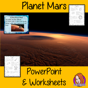 Planet Mars PowerPoint and Worksheets Lesson teach children about planet Mars in one complete lesson. Detailed 24 slide PowerPoint on planet Mars, the possibility of life on mars and discusses if how we explore the planet. There are also differentiated, 6 page, worksheets to allow students to demonstrate their understanding. This pack is great for teaching kids about Mars. #solarsystem #space #science #sciencelesson #planetmars #mars