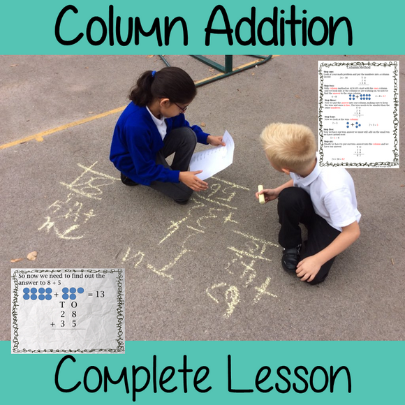 Addition Column Method, Math lesson