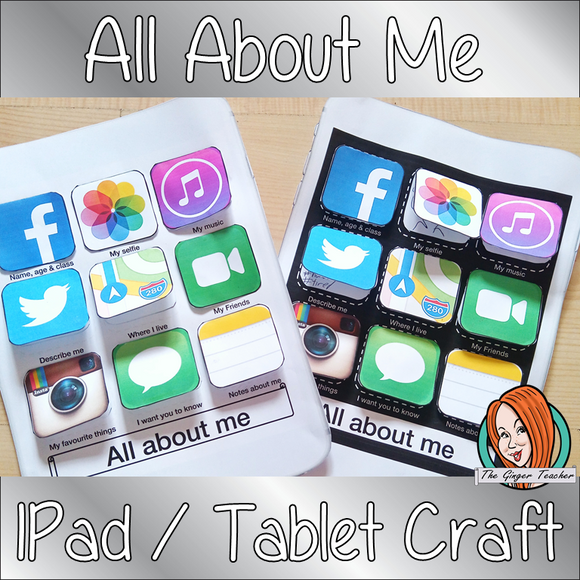 All About Me Craft Activity Great for beginning of the school year activities, first day of school activities fun all about me printable easy back to school craft lets children fill in their own iPhone apps to tell teacher all about the things they love first day back to school. Try something different from your usual 'all about me' worksheet. This download includes background template and apps to cut out and use Ideal for back to school activities #backtoschool #Firstdaybacktoschoolactivities