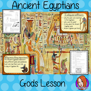 Ancient Egyptian Gods Complete History Lesson Teach children about Ancient Egyptian gods. The children will learn who the gods were, their different abilities and one of the Egyptian creation story. There is a detailed 37 slide PowerPoint and four versions of the 7-page worksheet to allow children to show their understanding, along with an activity to create fact cards for the gods #lessonplanning #ancientegyptians #egyptians #teaching #resources #historylessons #historyplanning