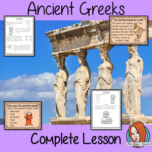 Ancient Greeks Complete History Lesson This download is a complete lesson to teach children about the Ancient Greek Civilization.  The children will learn about who they were and how the Greek Civilization changed the world. Some of the most important people from the Greek Civilization. 32 slide PowerPoint 10-page worksheet an activity to write an explanation text on the Greek Civilization. #lessonplanning #ancientGreeks #Greeks #teaching #resources #historylessons #historyplanning
