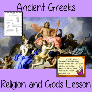 Ancient Greek Religion and Gods Complete History Lesson Teach children about Ancient Greek Religion and gods. The children will learn who the Greeks worshipped and why mount Olympus was important. A 28 slide PowerPoint and four versions of the 7-page worksheet to allow children to show their understanding, along with an activity to create fact cards for the gods #lessonplanning #ancientGreeks #resources #historylessons #historyplanning