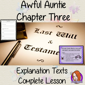 Writing Explanation Texts Complete English Lesson on Awful Auntie by David Walliams. Teachers will get full resources and plans for teaching school children explanation texts in the classroom. There is a PowerPoint to explain the activity and then practice independently. There is also a short chapter summary sheet for kids to reflect on the chapter read and share their ideas. #lessonplans #bookstudy #teachingideas #readingactivities #awfulaunty #davidwalliams