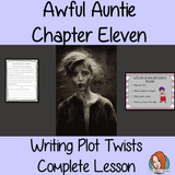 Writing Plot twists Complete English Lesson on Awful Auntie by David Walliams. Teachers will get full resources and plans for teaching school children to write plot twists in stories in the classroom. There is a PowerPoint to explain the activity and then practice independently. There is also a short chapter summary sheet for kids to reflect on the chapter read and share their ideas. #lessonplans #teachingideas #readingactivities #davidwalliams
